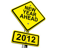 2012 Ahead. Road Sign Indicating New Year 2012 Ahead Stock Photo