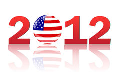 2012 America. Image of a an orb with the USA flag and the year 2012  on a white background Stock Photo
