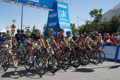 2012 Amgen Tour of California. Stage 6 from Palmdale to Big Bear Top Riders at the front starting line, Peter Sagan,Matthew Busche,Tejay Van Garderen,Jens Voigt Stock Image