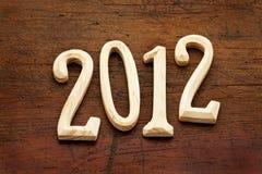 2012 anos nas letras de madeira Imagem de Stock