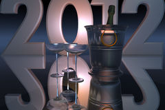 2012 ans neufs avec Champagne Photographie stock