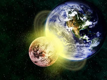 2012 apocalypse end of world planetary collision. A conceptual image of what might happen on the day of apocalypse 2012 in December. (Earth image credits Stock Illustration