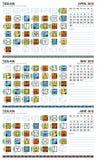 2012 april kalender mayan europeiska juni stock illustrationer