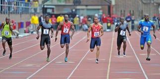 2012 atletica leggera - un precipitare dei 100 tester Immagini Stock Libere da Diritti