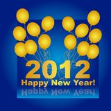 2012 background. 2012 with gold balloons over blue background. vector stock illustration
