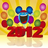 2012 background. 2012 with happy face and balloons over yellow background. vector Stock Image
