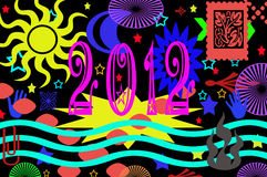 2012 background. Colorful illustration with number 2012 to celebrate the new year Royalty Free Stock Image