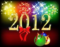 2012 background with salute. Bright 2012 background with bow,  balls and salute Stock Photos