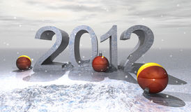 2012 ball. Illustration of numbers of new year 2012 of white color on snowy bottom Royalty Free Stock Photos