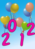2012 ballon. Illustration of 2012 year with color baloon royalty free illustration