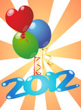 2012 balloon. Illustration of 2012 year with color balloon royalty free illustration