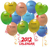 2012 balloon calendar. Illustration of balloon calendar in italian stock illustration