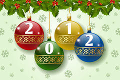 2012 balls decoration. Stylized Christmas balls decoration with number 2012 stock illustration