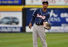 2012 basebol do campeonato menor - prendedor do outfielder Fotografia de Stock Royalty Free