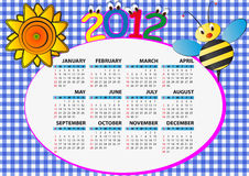 2012 bee calendar. 2012 bee and sunflower calendar for children Vector Illustration