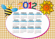 2012 bee calendar. 2012 bee and sunflower calendar for children in italian Royalty Free Illustration