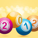 2012 bingo lottery balls. 3d new year bingo balls on an orange background Royalty Free Stock Photo