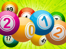2012 bingo lottery balls on green. New year bingo lottery balls on and green star burst background stock illustration