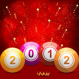 2012 bingo lottery balls on red. Glowing background with gold streamers and stars royalty free illustration