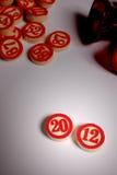 2012 - bingoaantallen op wit Stock Afbeeldingen