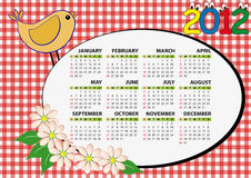 2012 bird calendar. 2012 bird and flower calendar for children Vector Illustration