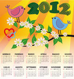 2012 bird calendar italian. 2012 bird calendar for children in italian Stock Illustration