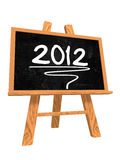 2012 on blackboard. 3d isolated blackboard with easel with text - 2012 Royalty Free Stock Photography