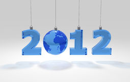 2012 blue letters with globe Stock Photos
