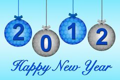 2012 on blue and silver baubles Royalty Free Stock Image