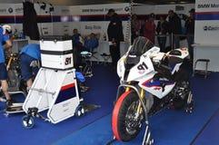 2012 bmw蒙扎赛跑小组的motorrad motorsport 免版税库存图片