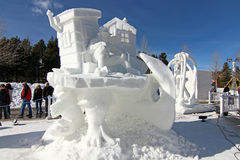 2012 Breckenridge Snow Sculpture Competition. A snow sculpture at the 2012 outdoor Budweiser International Snow Sculpture Competition in Breckenridge, Colorado royalty free stock photos