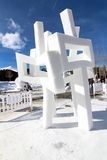 2012 Breckenridge Snow Sculpture Competition. A snow sculpture at the 2012 outdoor Budweiser International Snow Sculpture Competition in Breckenridge, Colorado stock image