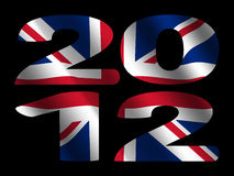 2012 with British flag. 2012 text with rippled British flag illustration Royalty Free Stock Photography