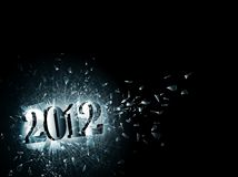 2012 in broken glass. Illustration of new year 2012 in the broken glass, copyspace Royalty Free Stock Photography