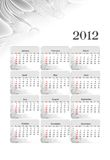 2012 business style calendar. On grey abstract flower background with months in white and grey Royalty Free Stock Images