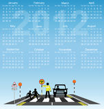 2012 calendar. Children school cross road safety vector illustration