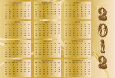 2012 Calendar. With vintage abstract Stock Images