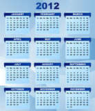 2012 Calendar. With Abstract Blue Background stock illustration