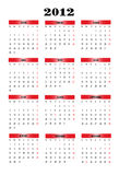 2012 calendar. 2012 new calendar in Spanish Stock Image