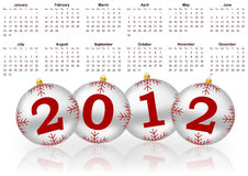 2012 calendar. With christmas balls vector illustration