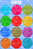 2012 calendar. With colorful circles Royalty Free Stock Photography