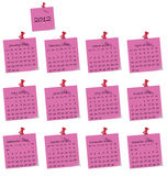 2012 calendar. On pink hand written memo pads Vector Illustration