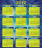 2012 Calendar. Vector Illustration: 2012 Calendar On Abstract Blue Streaky Background royalty free illustration