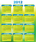 2012 Calendar. Vector Illustration: 2012 Calendar With Abstract Green Background Royalty Free Stock Images