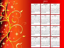 2012 calendar. 2012 full editable vector on red christmas theme royalty free illustration