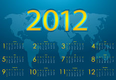 2012 calendar. With blue abstract background royalty free illustration