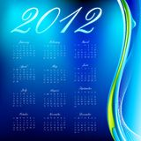 2012 Calendar. Illustration of complete calendar for 2012 in abstract background Royalty Free Stock Image