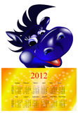 2012 Calendar. Dark blue dragon-New Year's a symbol of 2012.2012 Calendar Royalty Free Stock Photos