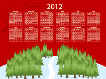 2012 calendar. Full editable 2012 vector calendar on red Christmas theme Stock Photo