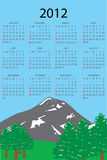 2012 calendar. Full editable 2012 vector calendar with vertical mountain landscape Stock Photo